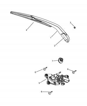 REAR WIPERS - ARM, BRUSHES AND MOTOR