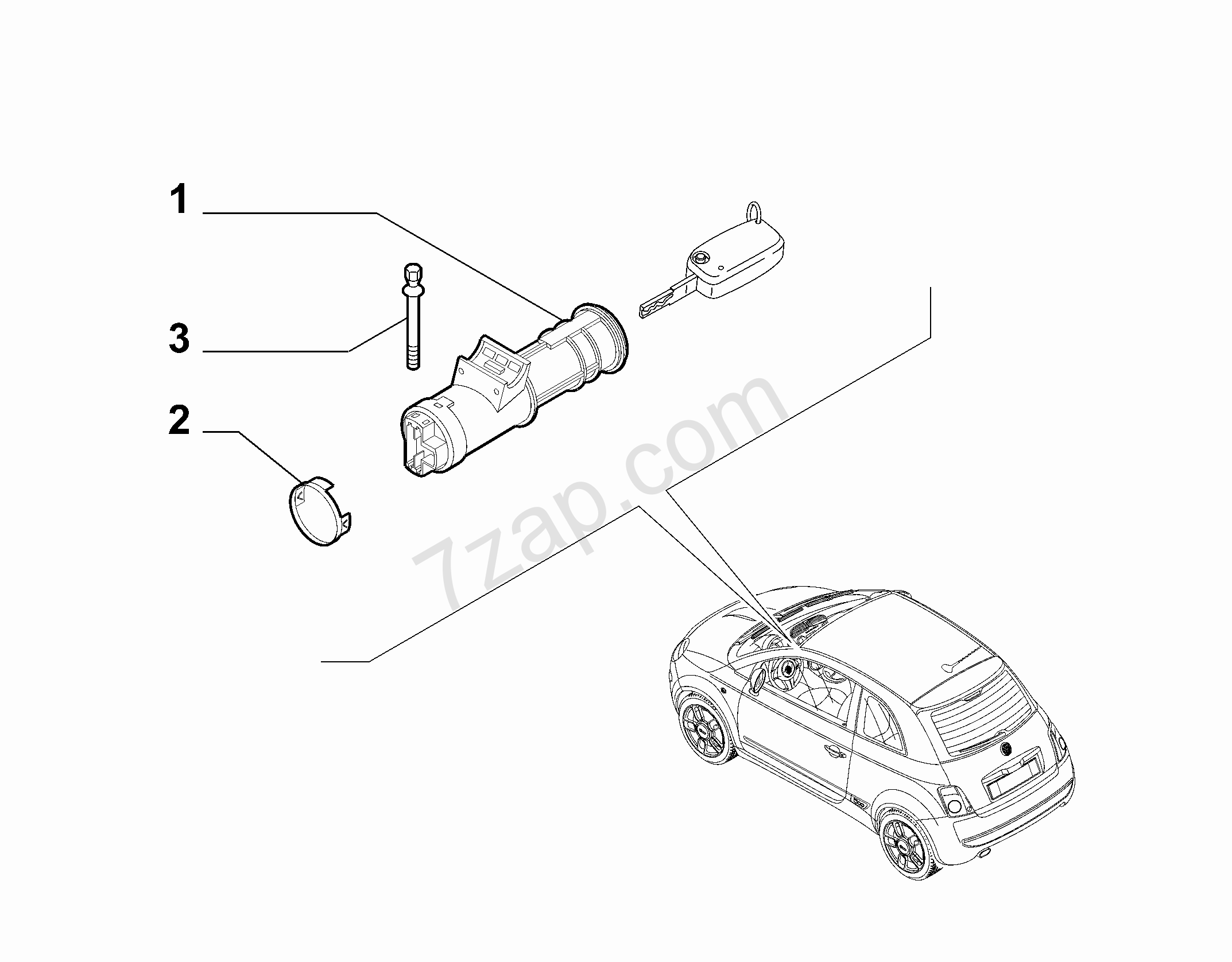 KEY SWITCH IGNITION FIAT 500 MY2012 (2012-    )