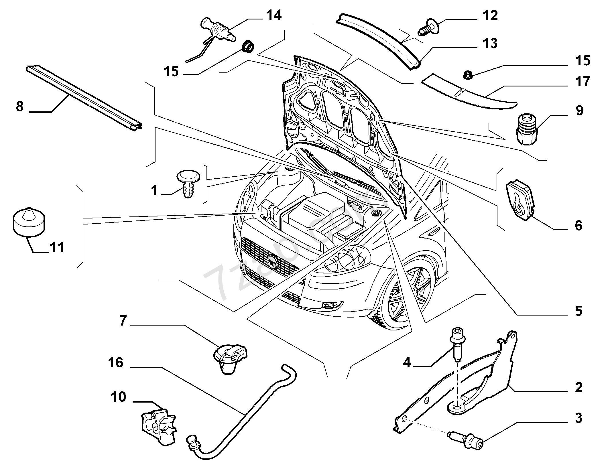 Fiat Punto Engine Bay Diagram Manual Of Wiring Grande Fuse Box Cover Compartment Lid Intern India 2008 2014 Rh 7zap Com