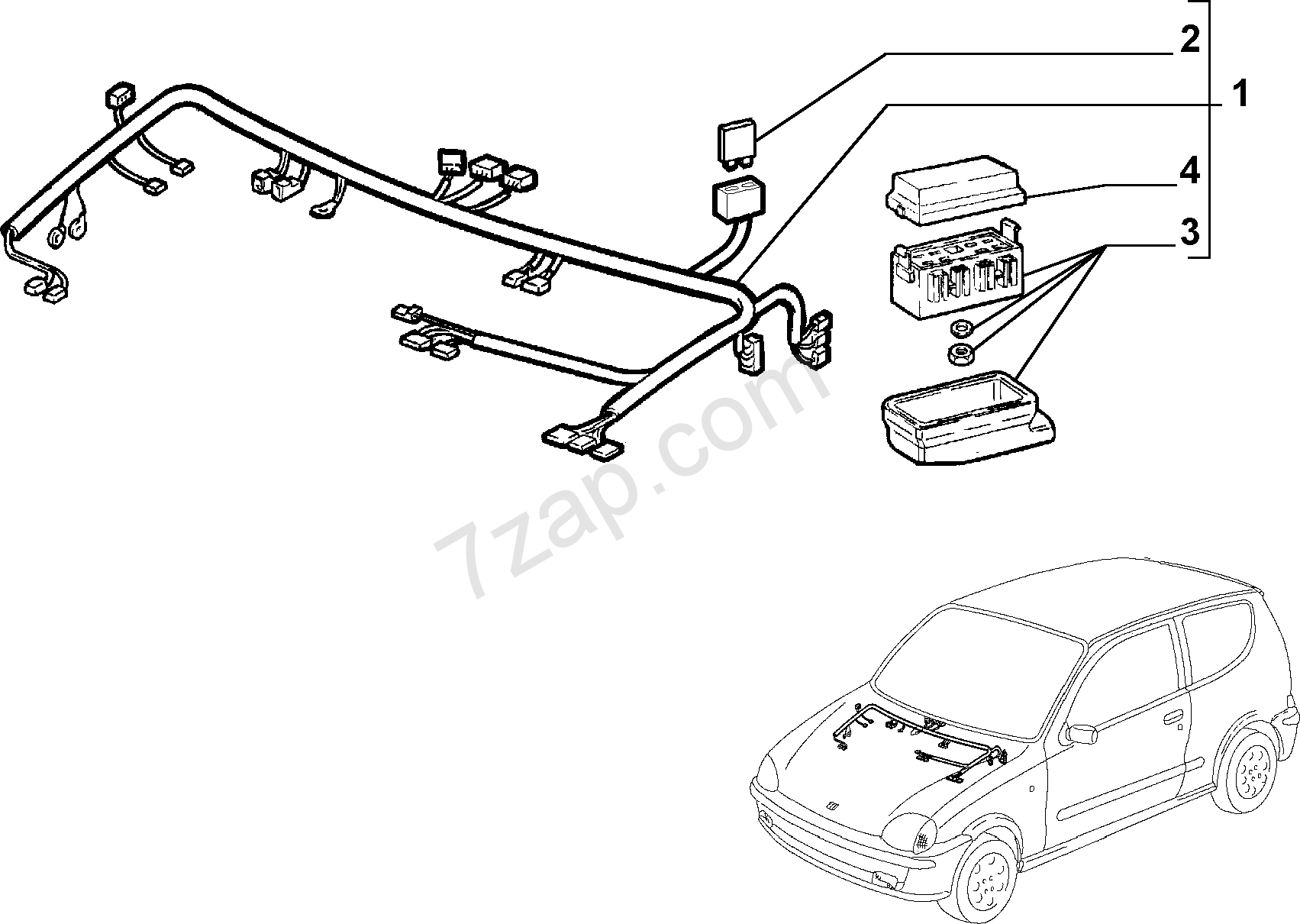 Fuse Box On Fiat Seicento Wiring Library Marcus Miller Fender Jazz B Diagram Cable Harness Front 1998 2010